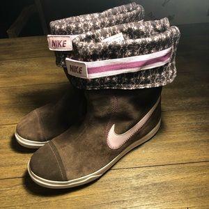 Nike hi top fold down sneaker boots pink brown 11
